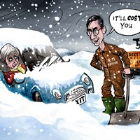Freezing temperatures and snow. Theresa May's Brexit plans and her whole future are also snowbound. She is going to need to persuade her extreme right wing – Rees Mogg's ERG – to get her out of it, if that's at all possible. Telegraph 3/2/2019
