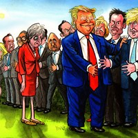 "Trump visits the UK amid huge protests. He has grown weary of Theresa May, whose days are numbered, and says ""I could help anybody if I endorsed them"". He has spoken badly of Gove. He seems to love Boris. Wonder why. Telegraph 2/6/2019."
