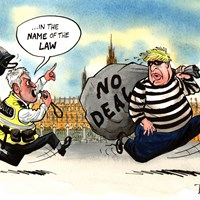 "Speaker John Bercow has said Boris Johnson would be acting like a ""bank robber"" if he refuses to delay Brexit to avoid no-deal. He promises to stop him breaking the law. Evening Standard 13/9/2019"