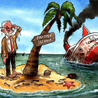 "Tony Blair intervenes to rub salt in defeated Corbyn's wounds. He says Labour is ""marooned on fantasy island"" with risk that the ""only people speaking the language of reality are those who don't aspire to lead it"". Meanwhile Corbyn claims that despite losing the election in the worst result for Labour since 1935, they ""won the argument"". Hmmm. Telegraph 19/12/2019"