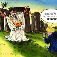 It's all looking a bit grim on this Summer Solstice for Johnson. The economy is tanking, deaths are rising and people are losing confidence in him. Maybe he needs a trip to Stonehenge for a bit of spiritual uplift. Telegraph 21/6/2020